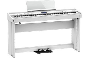 Roland FP-90X on optional KSC-90 stand with optional KPD-90 triple-pedal unit (both sold separately)