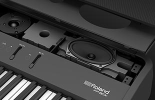 exploded view rendering showing components and construction of Roland FP-90X speaker system