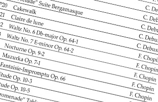 cropped detail image of list of piano songs included on Korg G1B Air digital piano