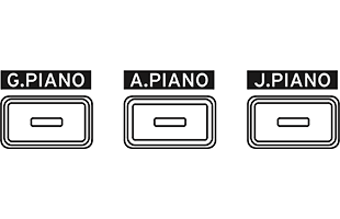 illustration of piano selection buttons on Korg G1B Air digital piano