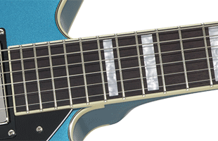 detail image of Gretsch G2622T showing fretboard and neck heel profile