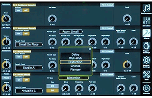 screen image from GEWA G9 Drum Workstation showing effects interface