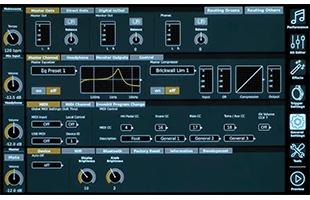 screen image from GEWA G9 Drum Workstation showing audio routing interface