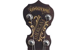 detail image of Deering Goodtime Artisan Americana banjo showing top of headstock