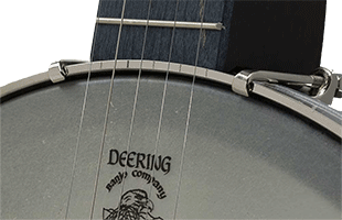 detail image of Deering Goodtime Artisan Americana banjo showing rim, head and fretboard