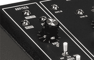 detail image of Moog Grandmother Dark top panel showing arpeggiator and sequencer controls