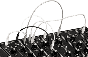 detail image of Moog Grandmother Dark top panel with several patch cables connected