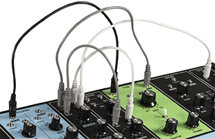 detail image of Moog Grandmother top panel with several patch cables connected