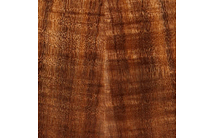 Hawaiian koa wood swatch showing typical color and grain pattern