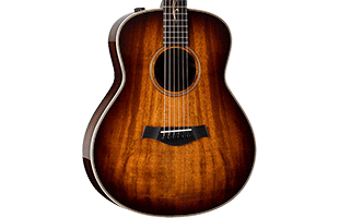 close-up front view of Taylor GT K21e showing Grand Theater body shape