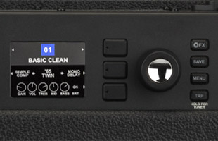 detail image of Fender GTX100 control panel showing screen, encoder dial and soft-touch keys