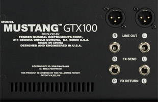 detail image of Fender Mustang GTX100 rear panel showing product name, grill and audio connectors