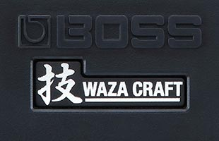 detail image of Boss HM-2W Heavy Metal showing Boss and Waza Craft logos on main stomp switch