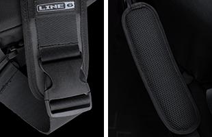 side-by-side collage dual detail image showing Line 6 HX Messenger Bag shoulder strap attachment clip and shoulder pad
