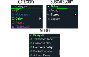screen image collage from Line 6 HX Stomp XL showing effects category and sub-category selection interface