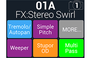 screen image from Line 6 HX Stomp XL showing typical effects setup interface