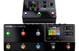 collage image with Line 6 HX Stomp XL in front of Line 6 HX Stomp