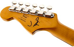 detail image of Squier J Mascis Jazzmaster showing back of headstock and portion of neck