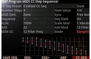 screenshot from Kurzweil K2700 showing MIDI CC sequencer interface