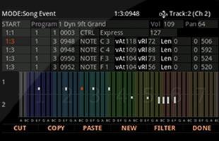 screenshot from Kurzweil K2700 showing step sequencer interface