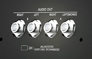 detail image of Kurzweil K2700 rear panel showing audio output connectors