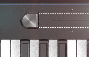 detail image of Kurzweil K2700 top panel showing portion of ribbon controller and portion of keybed