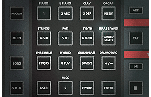 detail image of Kurzweil K2700 control panel showing sound selection category buttons