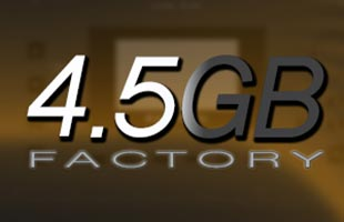 icon graphic showing the words 4.5GB FACTORY