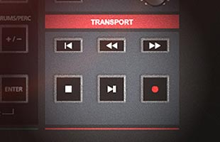 detail image of Kurzweil K2700 control panel showing transport controls