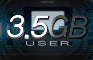 icon graphic showing the words 3.5GB USER