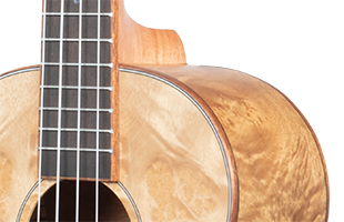 cropped detail image of Kala Salted Caramel Exotic Burl Tenor Ukulele showing top, side and neck
