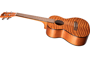 angled image of Kala Exotic Mahogany Tenor Ukulele showing front and left side