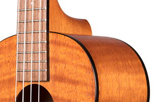 cropped detail image of Kala Exotic Mahogany Tenor Ukulele showing top, side and neck