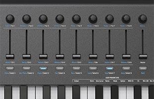 detail image of Arturia KeyLab MkII 88 MIDI/USB/CV Controller - Black showing assignable fader controls