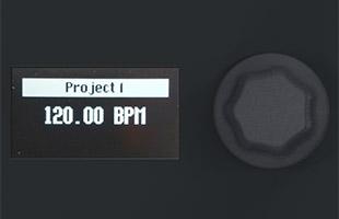 detail image of Arturia KeyStep Pro panel focusing on OLED display