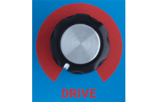 detail image of Dreadbox Kinematic control panel showing DRIVE knob