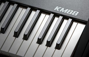 detail image of Kurzweil KM88 showing right side of keybed
