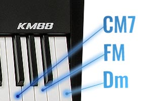 detail image showing portion of Kurzweil KM88 keybed with callouts indicating multiple chord notes triggered from a single key