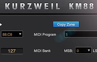 screenshot from Kurzweil KM88 editor software
