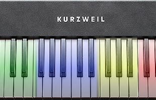 detail image showing portion of Kurzweil KM88 keybed with transparent color overlays indicate four MIDI control zones
