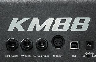 detail image of Kurzweil KM88 rear panel showing pedal inputs