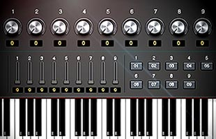 detail image of Kurzweil KM88 panel showing assignable knobs, buttons and sliders