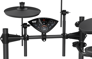 detail image of Kat Percussion KT-100 showing hi-hat and sound module mounted on rack