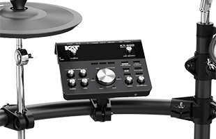 detail back image of Kat Percussion KT-300 showing drum sound module and hi-hat cymbal mounted on rack