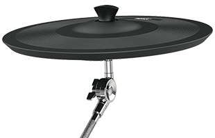 detail image of Kat Percussion KT-300 showing ride cymbal mounted on stand