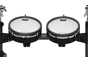 detail back view of Kat Percussion KT-300 showing two tom pads mounted to rack