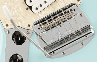 detail image of Fender Kurt Cobain Jag-Stang showing Mustang floating bridge