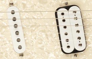detail top view of Fender Kurt Cobain Jag-Stang showing vintage-style single-coil pickup and custom humbucking bridge pickup