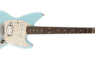 close-up top view of Fender Kurt Cobain Jag-Stang cropped to indicate 24-inch scale length