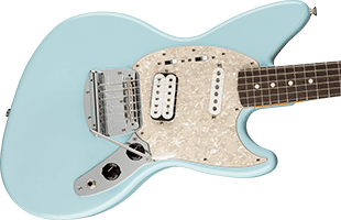 close-up perspective view of Fender Kurt Cobain Jag-Stang showing top and right side of body and portion of fretboard